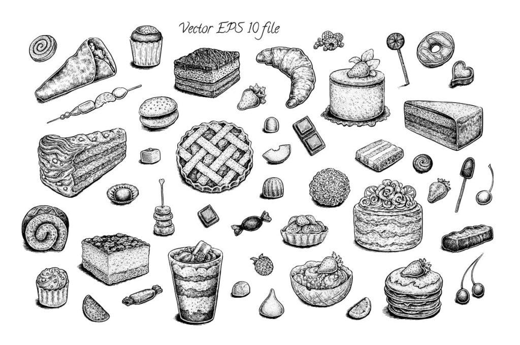 艺术复古水墨风格的手绘甜品图案Set of vector and raster desserts插图(1)