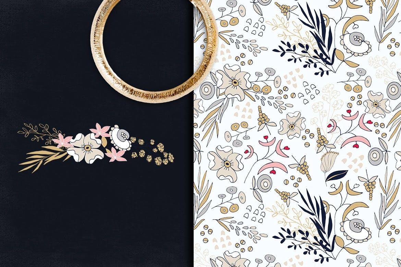 卡片婚礼邀请装饰图案花纹素材下载Silver Flowers插图(1)