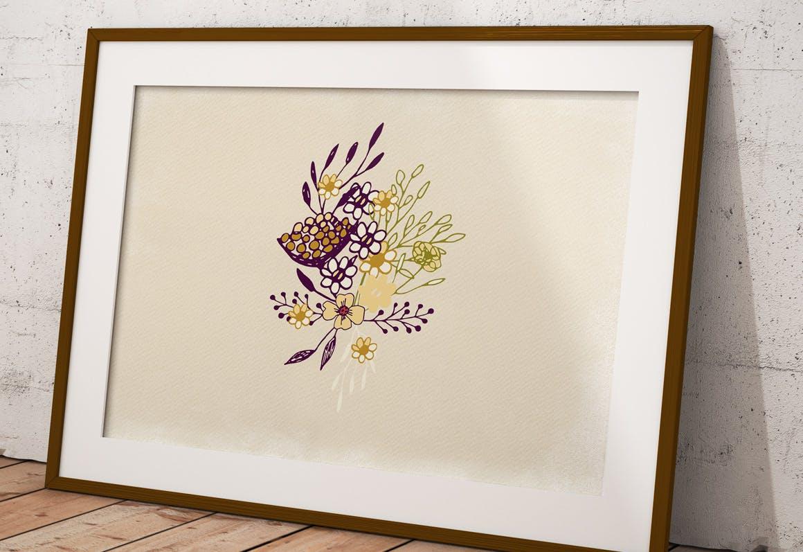 素雅植物图案花纹纹理素材展示Sketch Flowers插图(1)