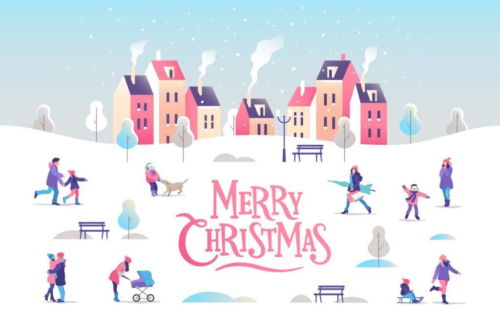 圣诞新年主题扁平风场景插画素材Snowy Street Urban Landscape with People插图(1)