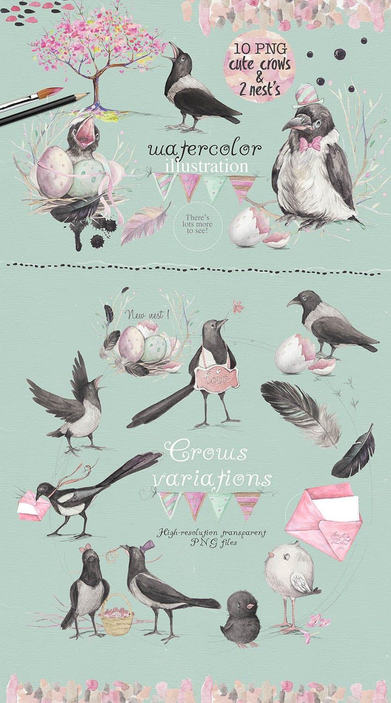 春天与乌鸦艺术创作作品集图案纹理素材下载Spring crows bundle插图(1)