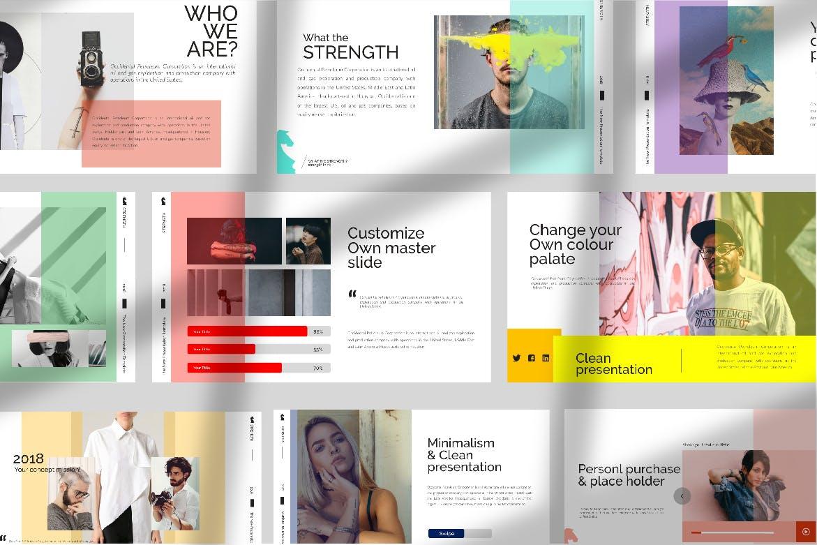 青春服装展览演示文稿模版trenght White Google Slide插图(1)