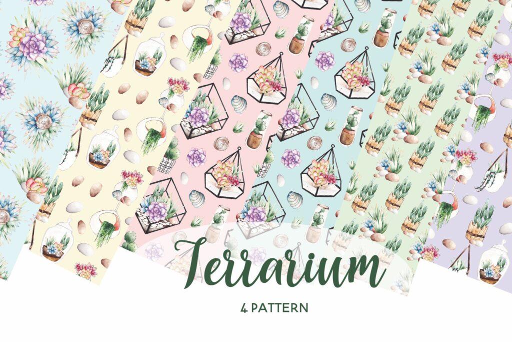 精致手绘元素企业品牌服装装饰图案花纹Succulent Terrarium Watercolor插图(1)