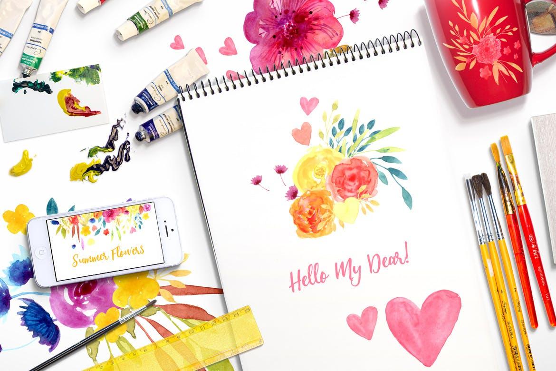夏日鲜花水彩画元素装饰图案元素Summer Flowers插图(1)