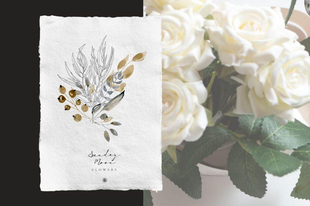 浪漫花卉水彩画婚礼邀请函装饰图案花纹Sunday Moon Flowers插图(1)