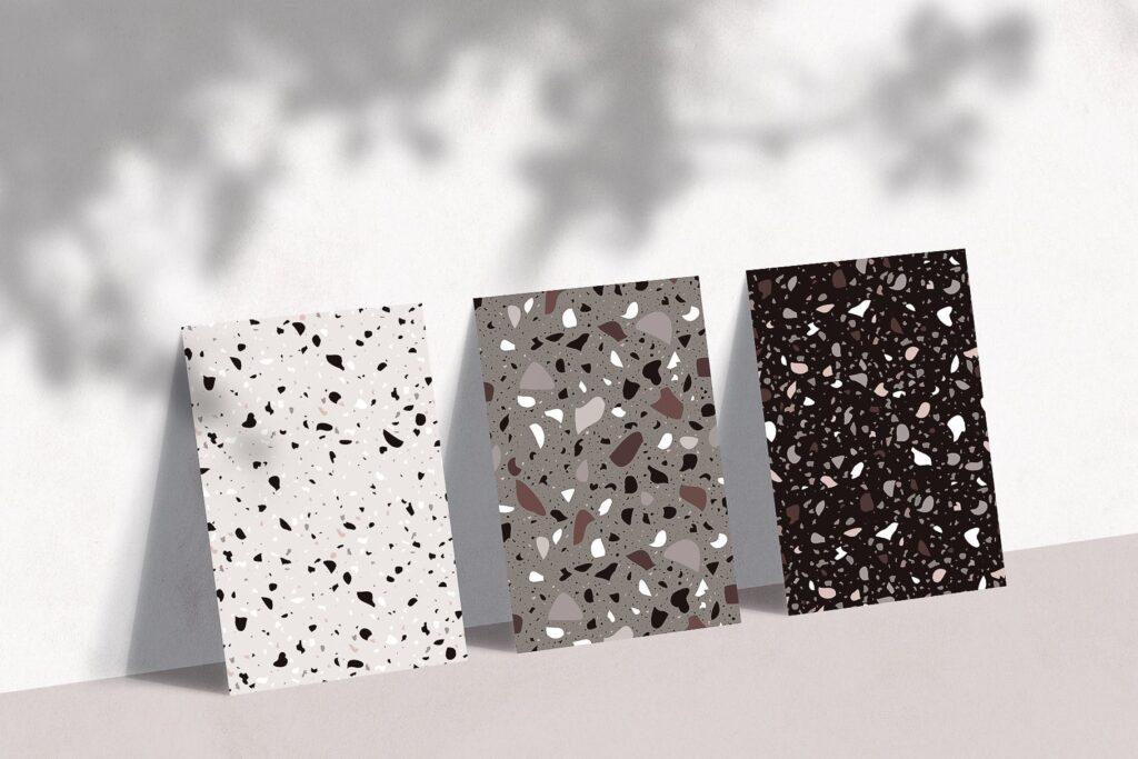 水磨石结构与自然图形创意组合装饰纹理TERRAZZO Natura Seamless Pattern插图(1)