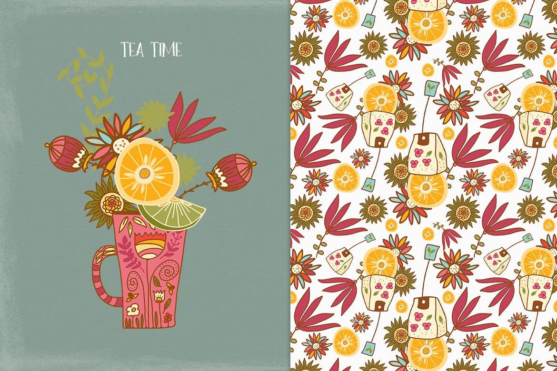 茶品类包装辅助图形图案元素图案/纹理装饰元素下载Tea Time插图(1)