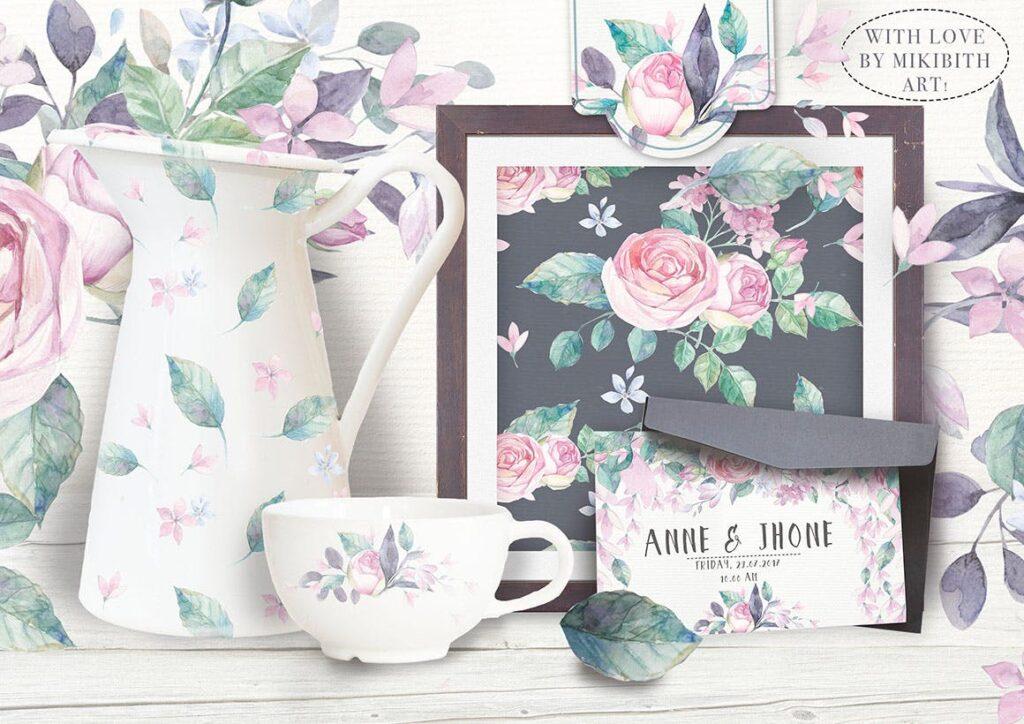 企业品牌装饰图案花卉/花圈/装饰图案The garden roses插图(1)