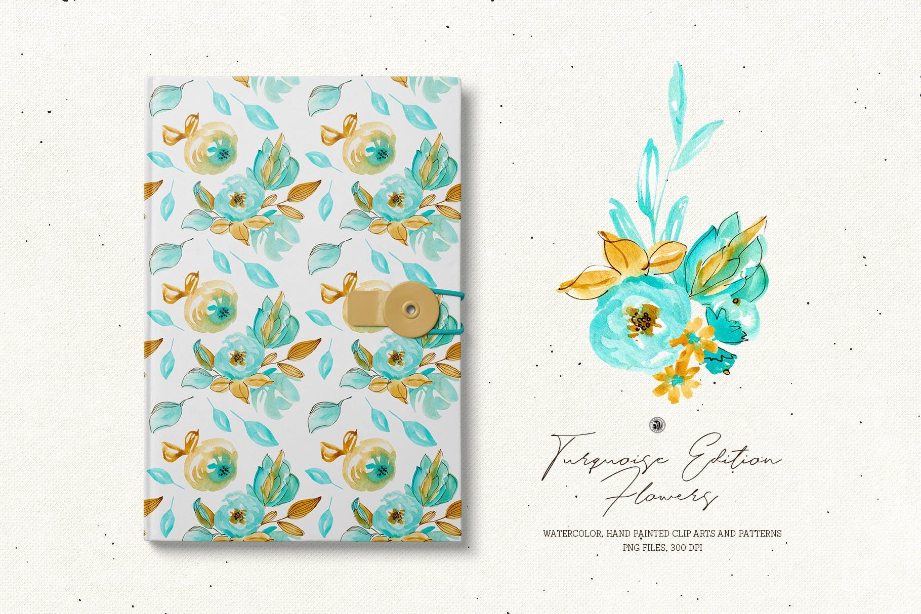 绿松石版水彩花/手绘水彩画/剪贴艺术图案Turquoise Edition Flowers插图(1)