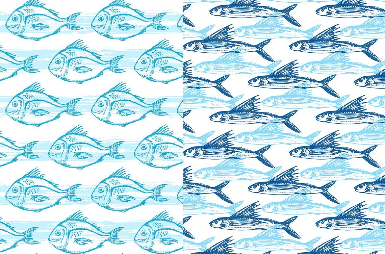 海洋生物元素矢量复古风手绘装饰图案Under the Sea Seamless Patterns插图(1)