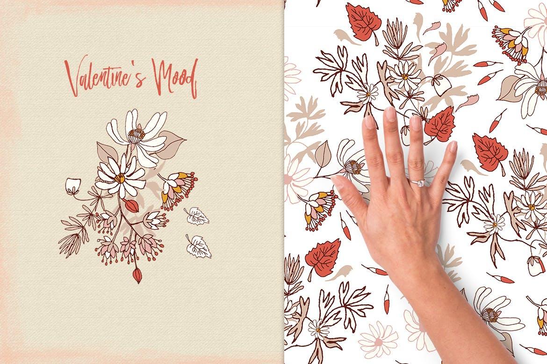 情人节主题花卉图案模板素材Valentine's Mood插图(1)