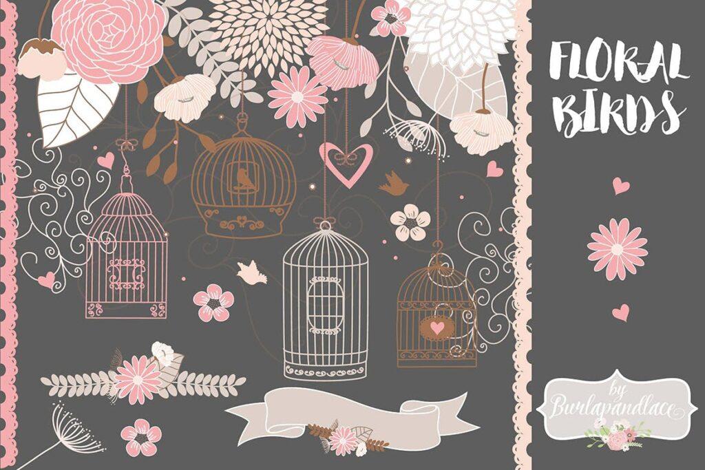 44个花鸟笼高质量剪贴装饰图案Vector Bird cage flower clipart flower clipart插图(1)