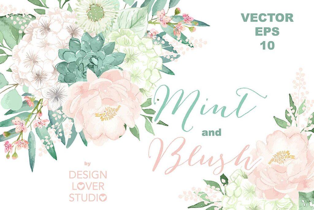 水彩手绘花卉水彩剪贴画Vector Watercolor Mint and Blush clipart插图(1)