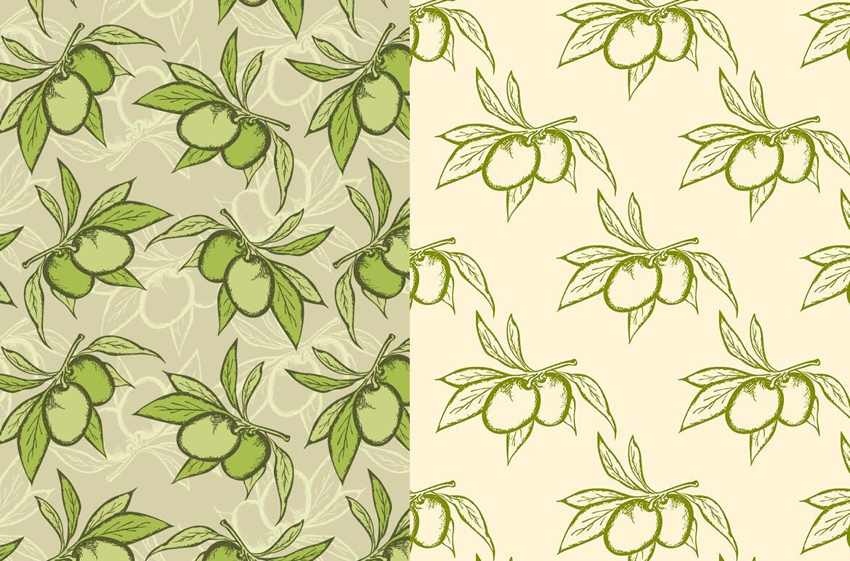 蔬菜类复古风手绘图案装饰怨言Vegetable Seamless Patterns插图(1)