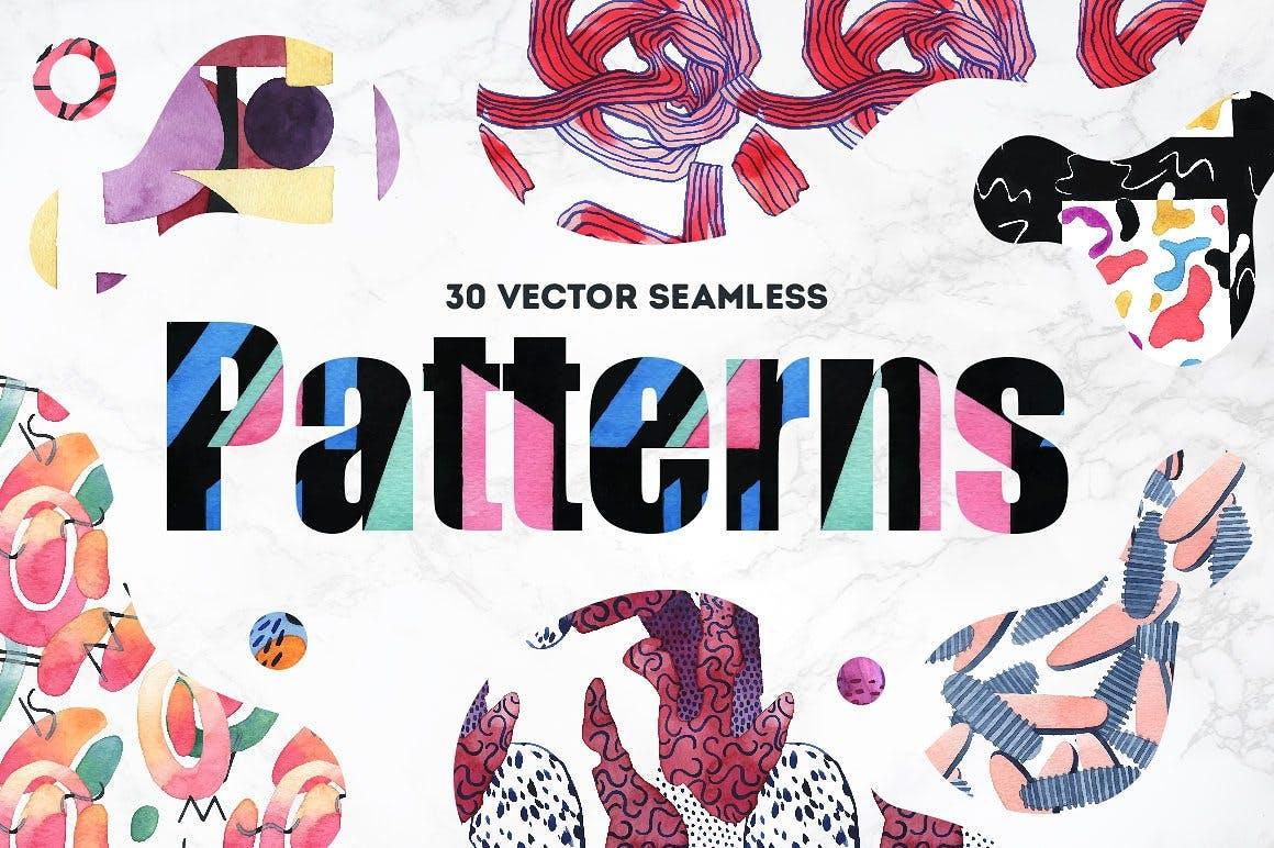 几何纹理水彩装饰图案纹理下载Vibrant Watercolor Patterns插图(4)