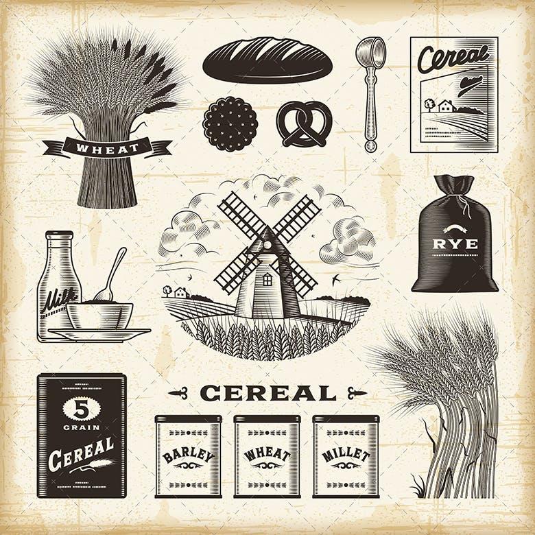 木刻风格的复古谷物杂粮类元素Vintage Cereal Set插图(1)