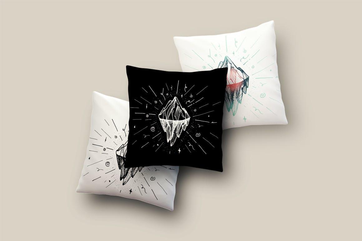 2幅冰山和山峰的插图布艺用品装饰图案矢量素材下载Vintage Mountain Print Patterns插图(1)