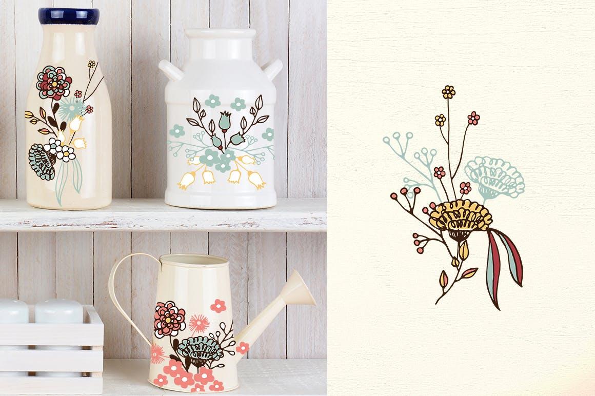 服装文艺印刷用品花纹素材模板下载Washed Colors Flowers插图(1)