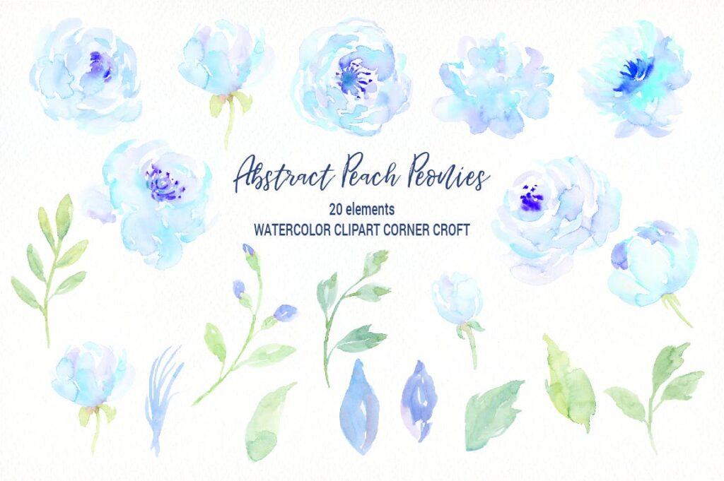 蓝色牡丹水彩图案纹理图案下载Watercolor Blue Peony Collection插图(1)