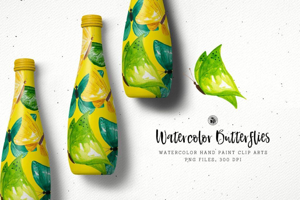 水彩画蝴蝶手绘花卉水彩画剪辑艺术品牌包装装饰图案Watercolor Butterflies插图(1)
