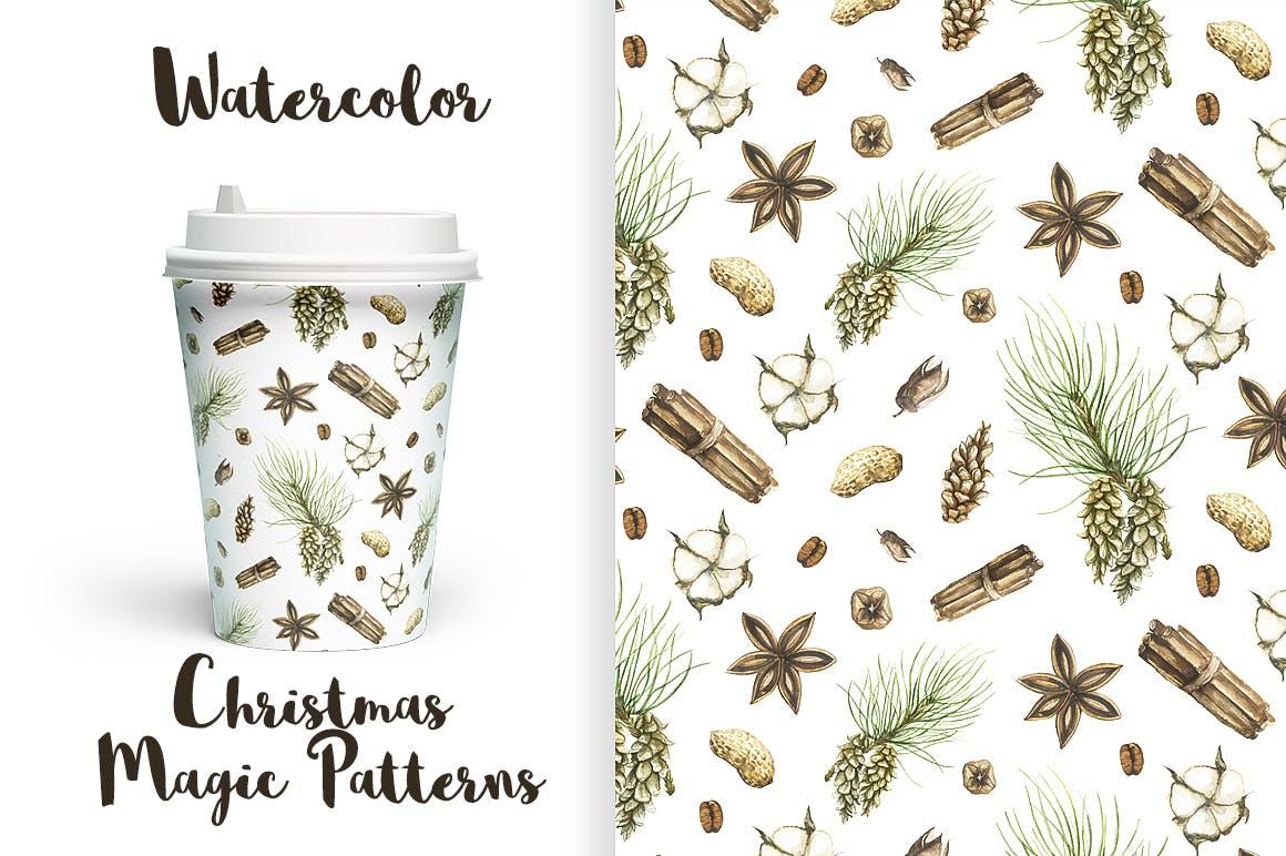 松果/松枝/鹿角森林系列手绘图案纹理元素下载Watercolor Christmas Magic Patterns插图(1)