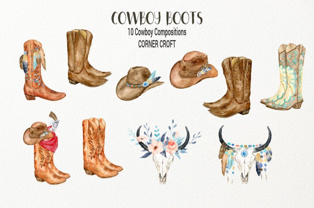 原始部落创意图案波西米亚插图创意图案Watercolor Cowboy Boots And Accessory collection插图(1)