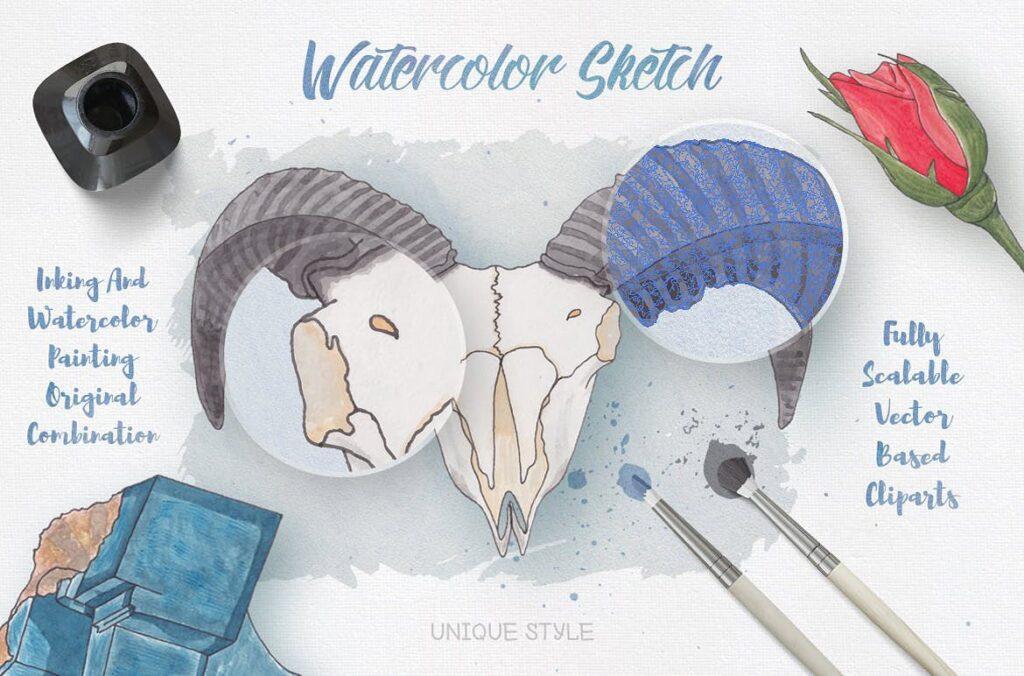 大自然生物创意图案手绘水彩装饰元素下载Watercolor Creatures vol. 1插图(1)