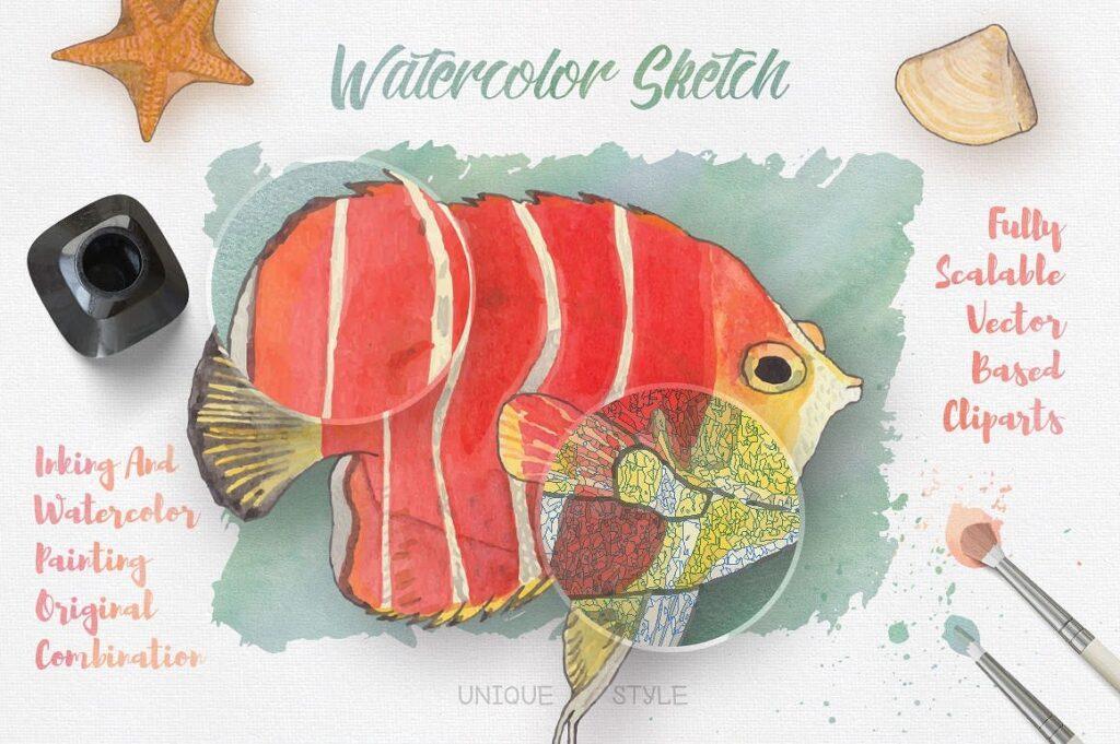 海洋生物系列主题创意图案装饰图案Watercolor Creatures vol 3插图(1)