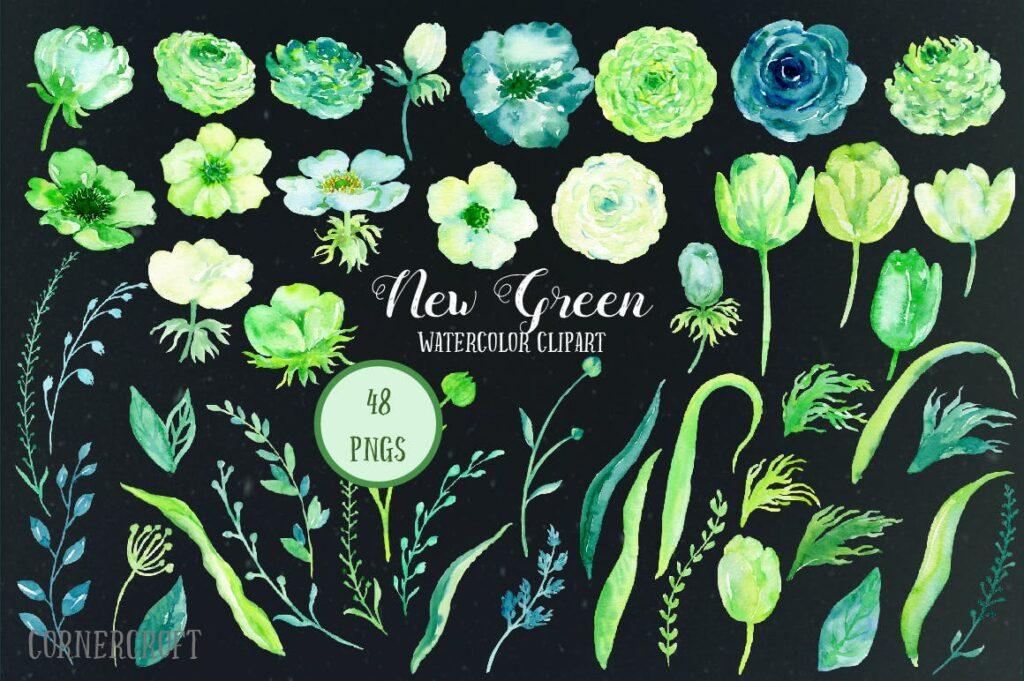 手绘水彩设计工具包全新企业品牌装饰图案花纹Watercolor Design Kit New Green插图(1)