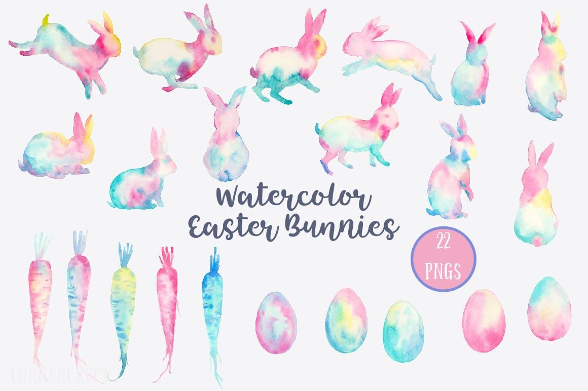 手绘水彩画复活节元素兔子水彩装饰图案Watercolor Easter Bunnies Design Kit插图(1)