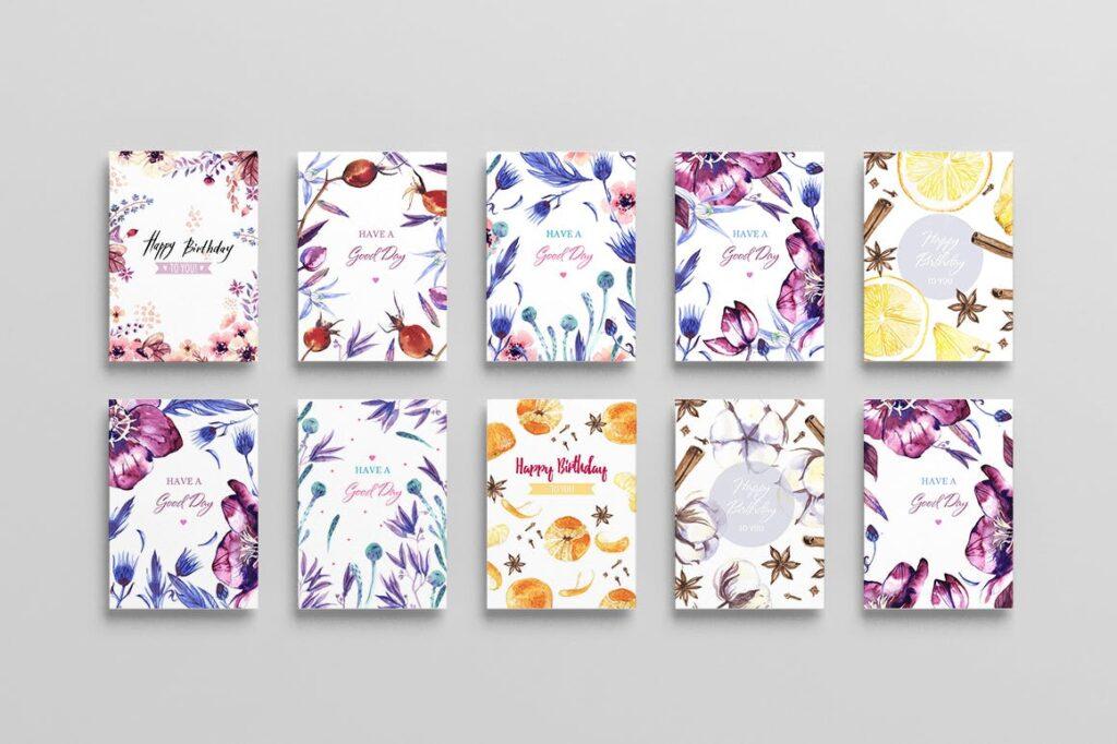 水彩花卉装饰版画装饰图案元素Watercolor Flowers Pack插图(1)