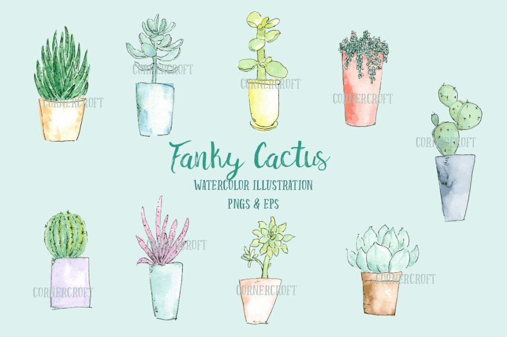 水彩手绘仙人掌多角度图案布艺手提袋装饰图案Watercolor Funky Cactus Vector插图(1)