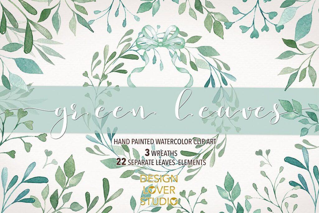 绿植装饰图案花纹相关元素下载Watercolor Green Leaves clip arts插图(1)