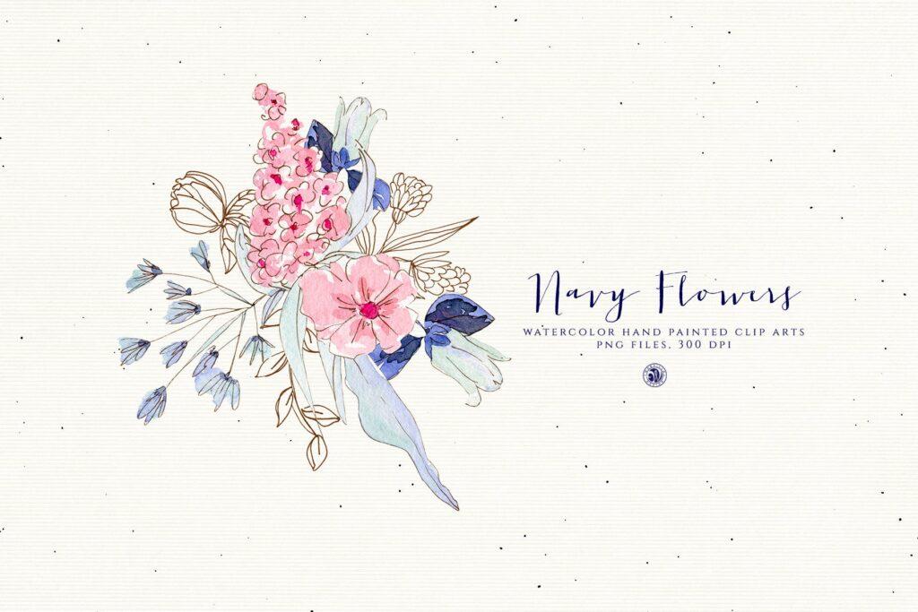 海军水彩手绘画花卉剪贴画装饰图案Watercolor Navy Flowers插图(1)