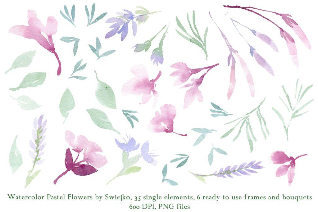 美丽/浪漫的35个手绘花卉和树叶装饰图案Watercolor Pastel Flowers插图(1)