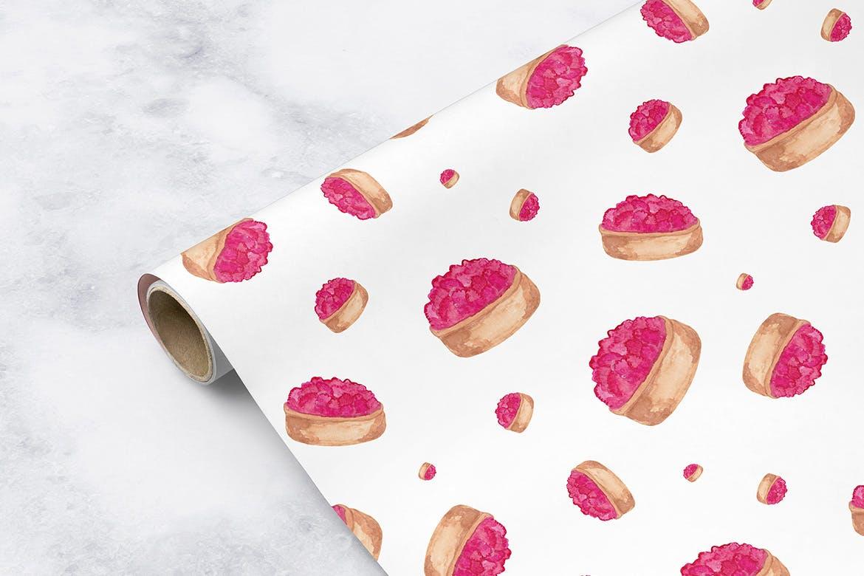20个手绘水彩糕点创意装饰图案元素下载Watercolor Pastry Patterns插图(1)
