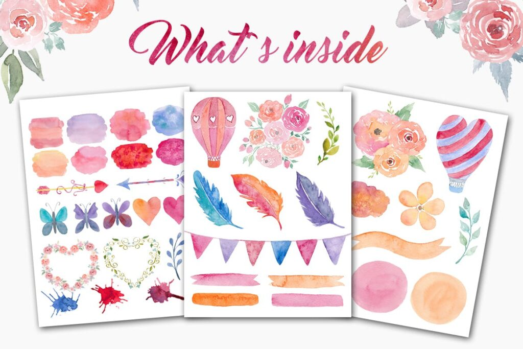 60个水彩纹理材质素材下载Watercolor Romantic Pack插图(1)