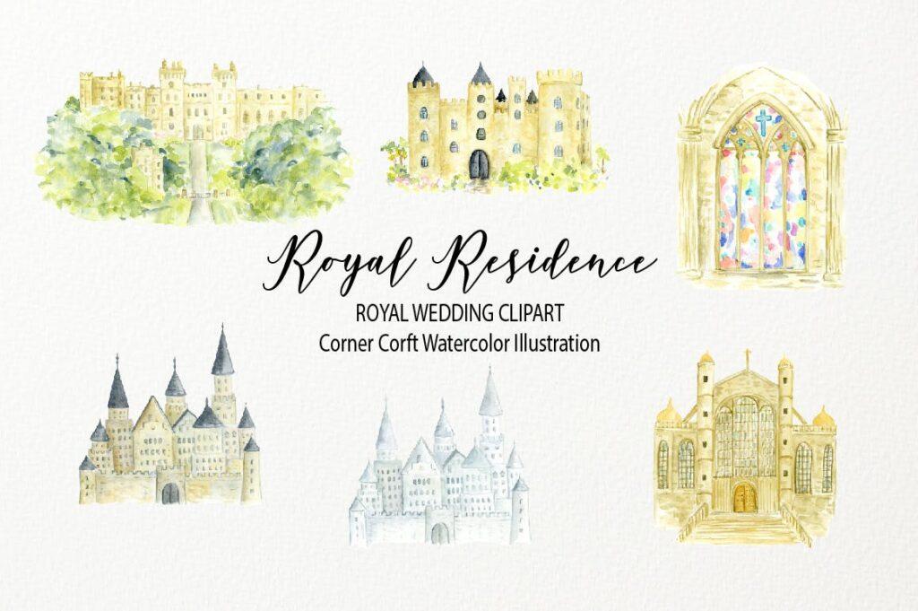 皇家住宅水彩插图皇家婚礼场景剪纸装饰花纹Watercolor Royal Residence Illustration插图(1)