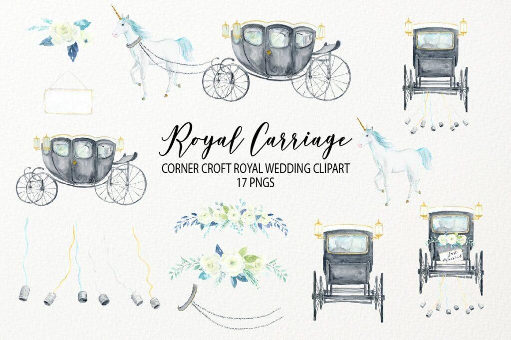 水彩皇家婚礼剪贴画皇家马车剪贴画主题装饰图案Watercolor Royal Wedding Carriage Clipart插图(1)