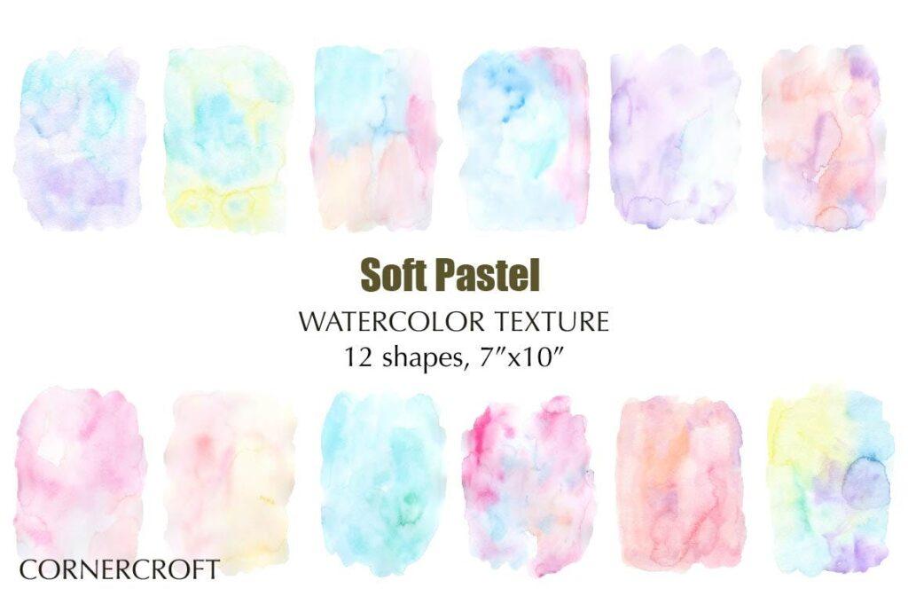 水彩笔触渐变纹理材质装饰Watercolor Texture Soft Pastel插图(1)