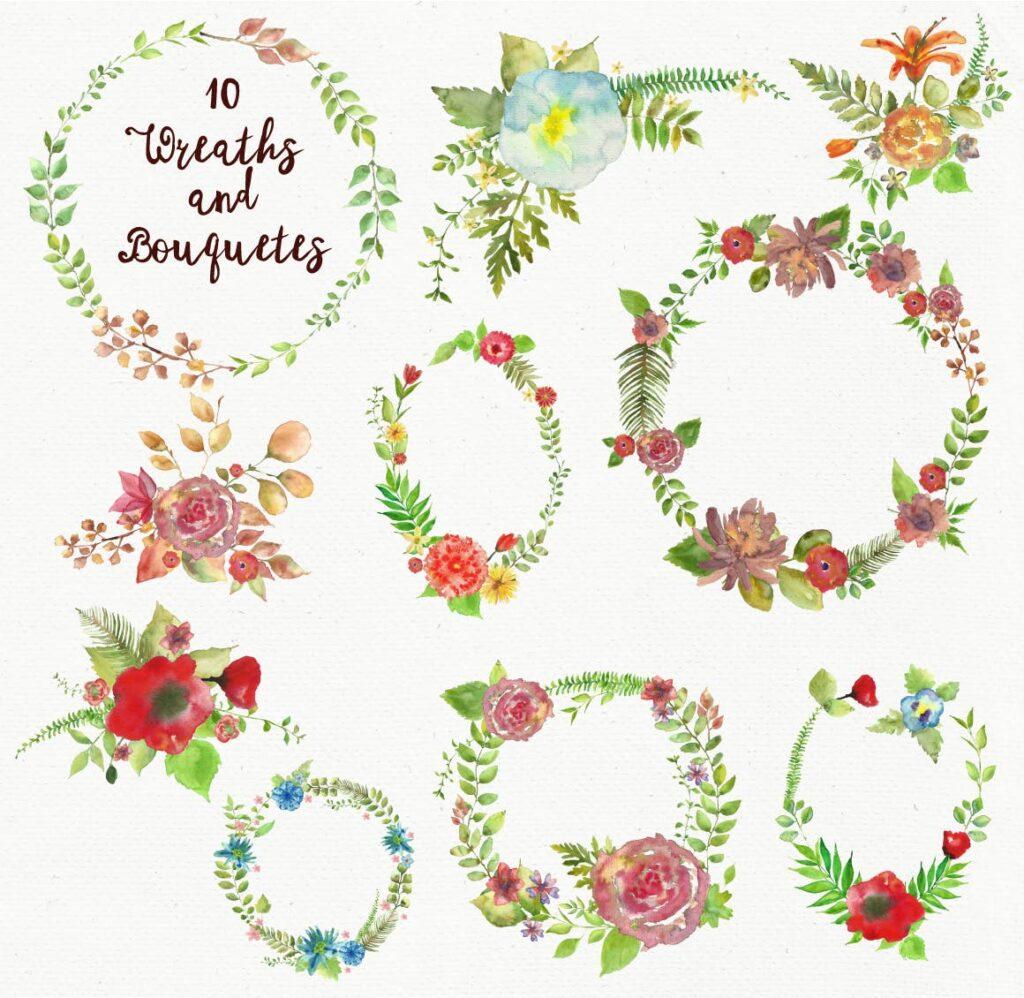 水彩花朵树叶和花环主题元素装饰图案Watercolor Wreathes and Bouquets插图(1)