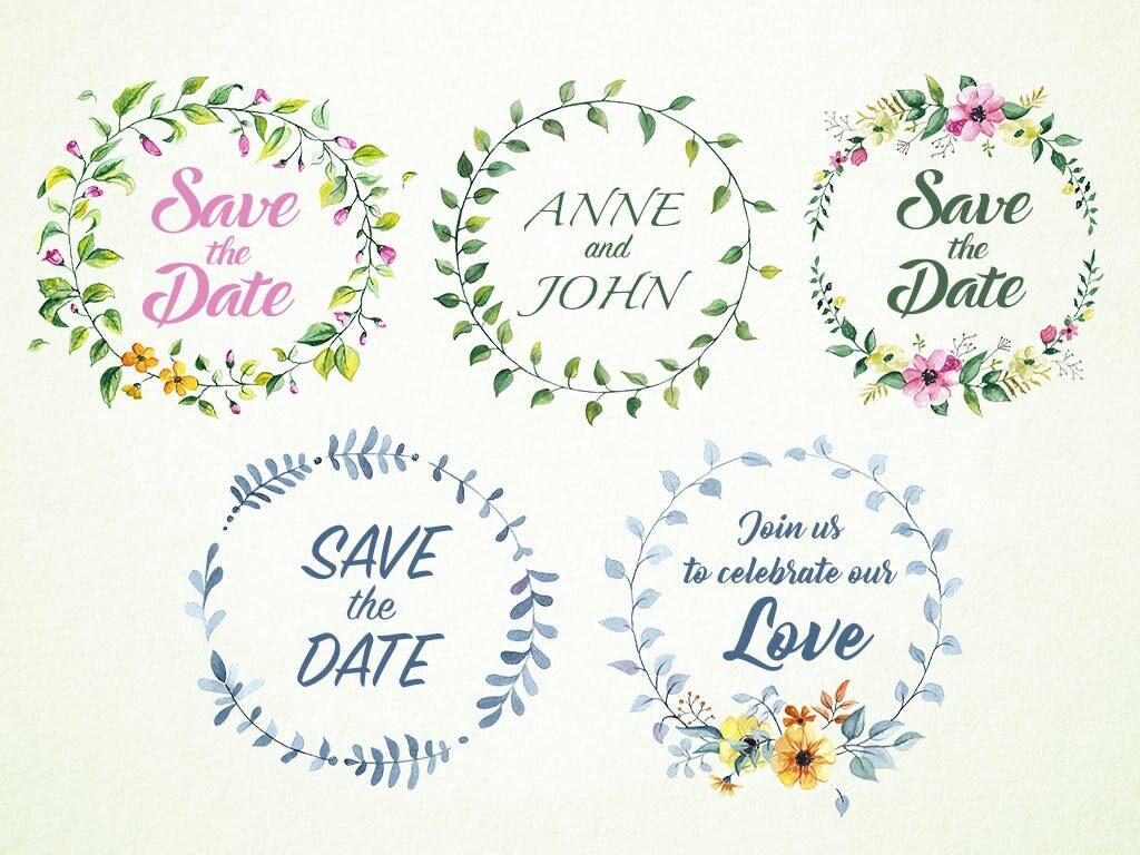 婚礼徽章主题系列花环装饰图案Wedding Badges插图(1)