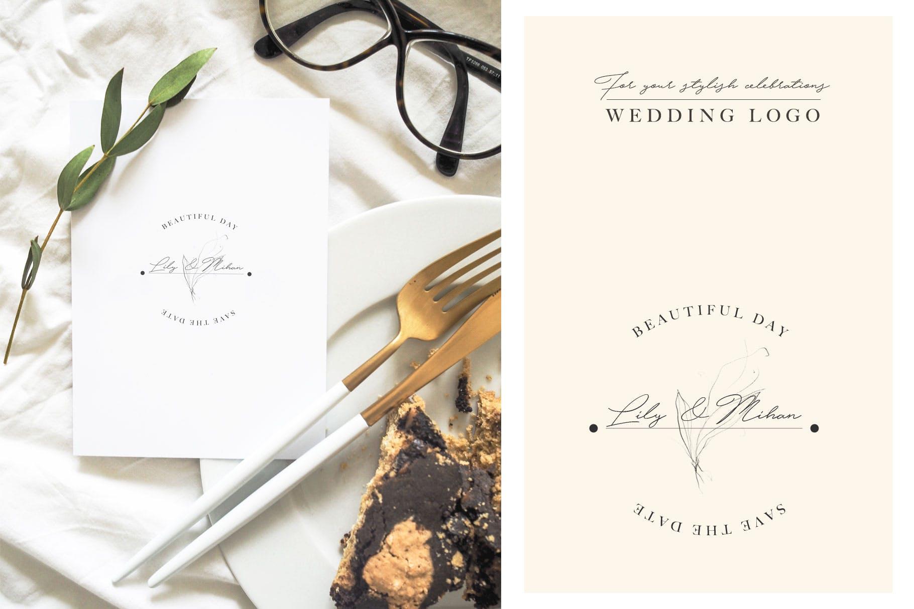 优秀的石墨仿铅笔图形组图案花纹素材Wedding Graphic Logo Pencil Flower插图(1)