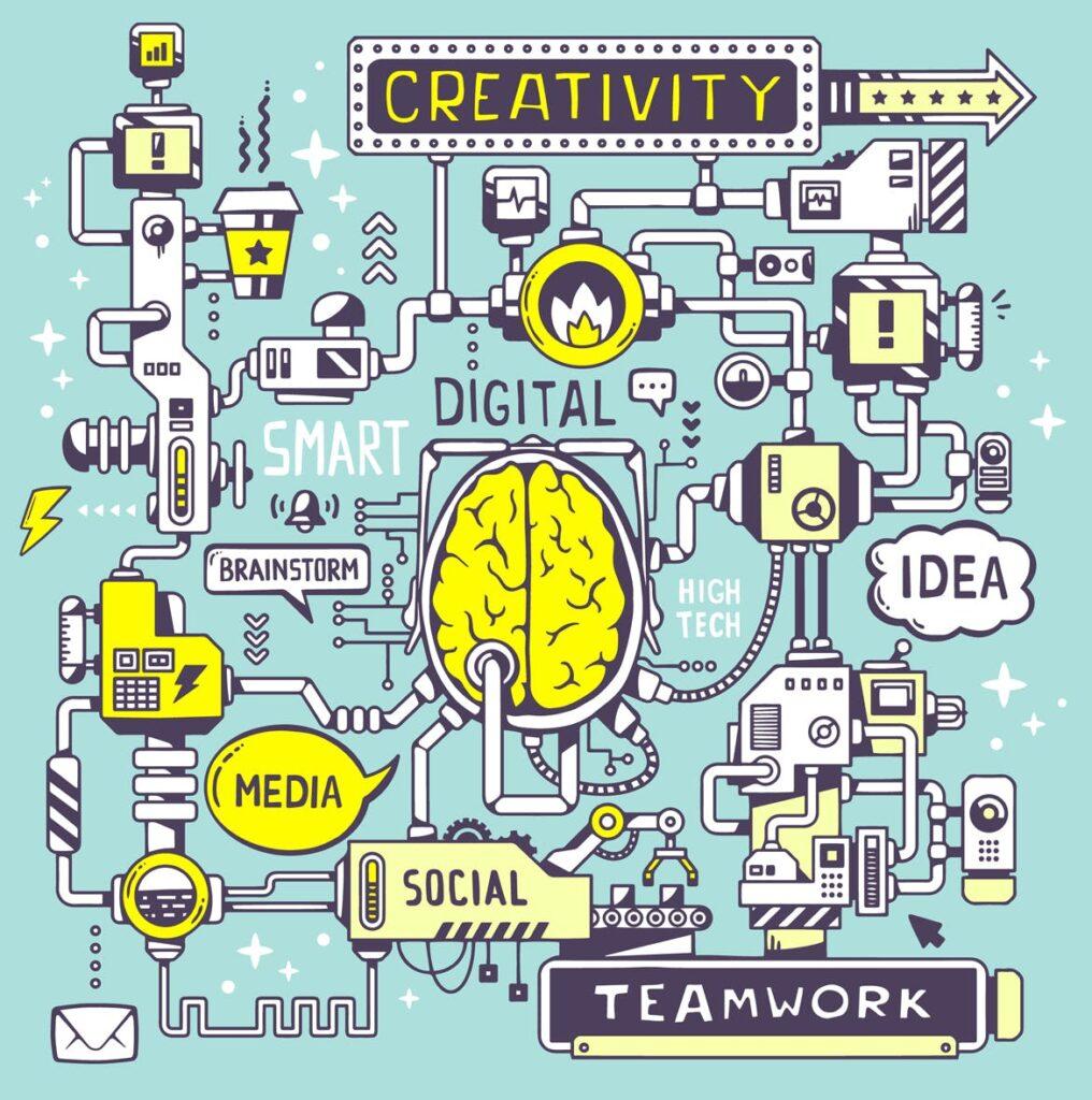 物联网机器智能主题创意多场景插图设计Set of 3d illustrations with business words插图(1)