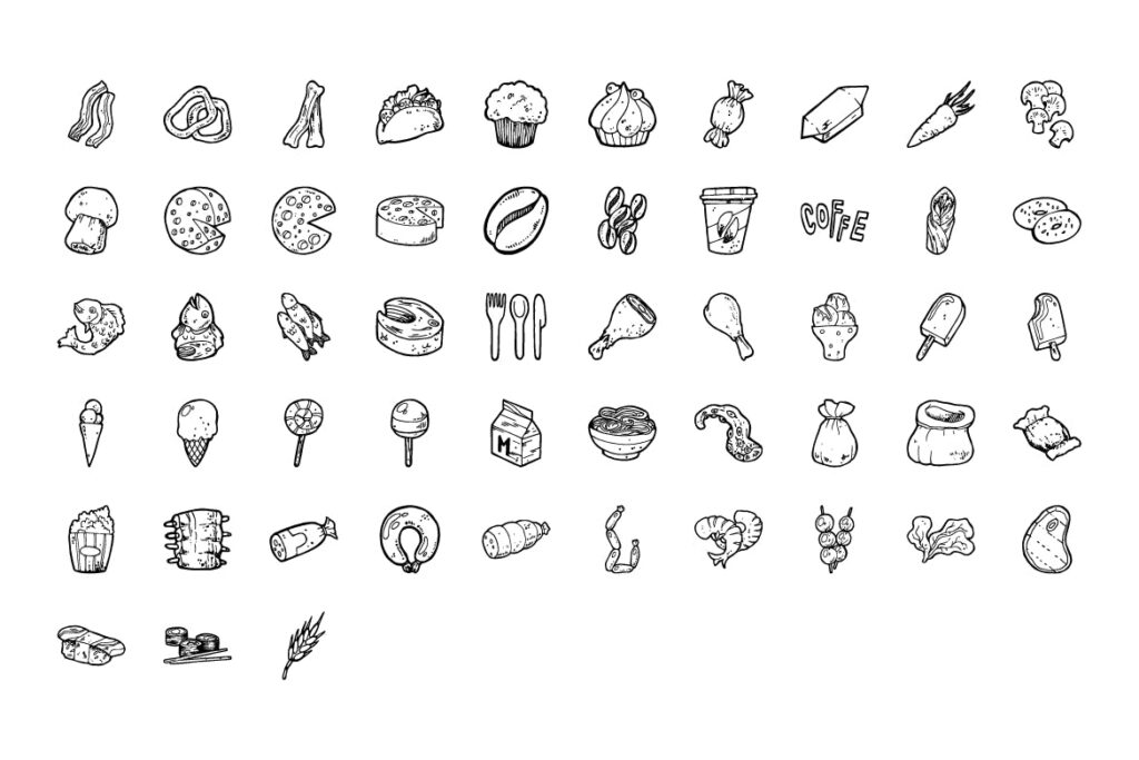 食物和圣诞手绘主题元素装饰图案212 Food and Christmas Handdrawn插图(2)