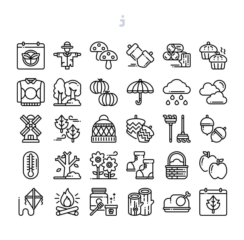 30秋季元素描边风系列图标源文件下载30 Autumn Season Icons 3ad6ts7插图(2)