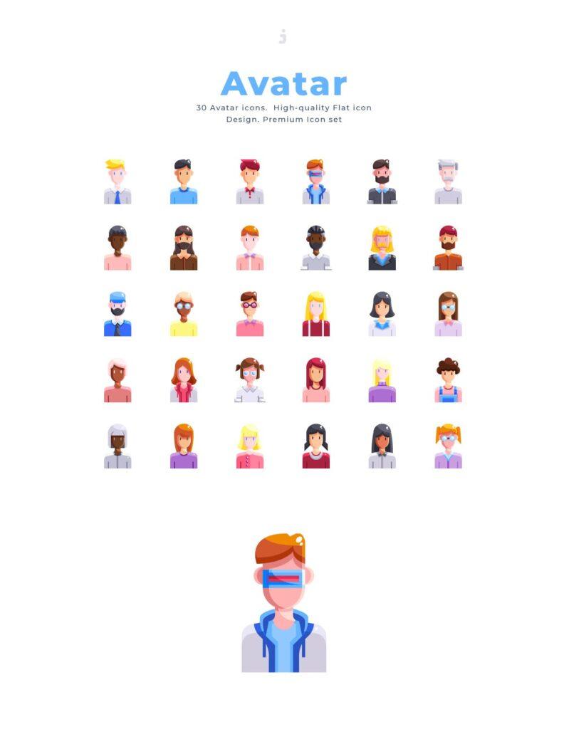 30个多脸型人物头像图标素材30 Avatar Icon set Flat插图(2)