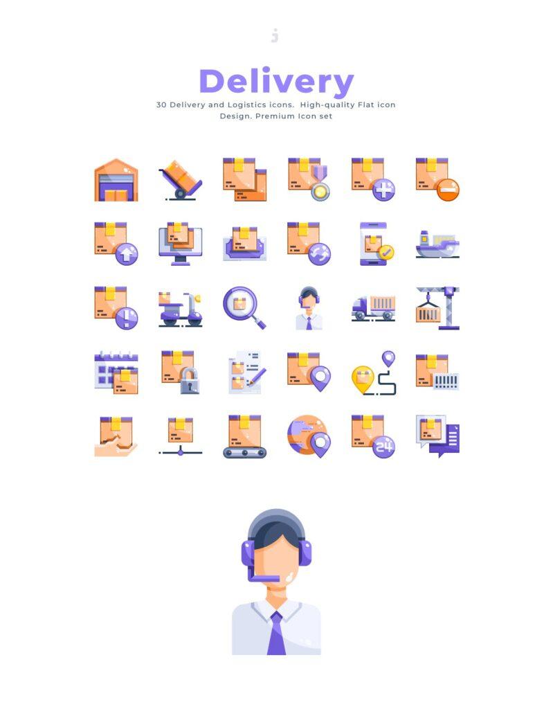 30个物流公司主题相关扁平化图标素材30 Delivery Icons Flat插图(2)