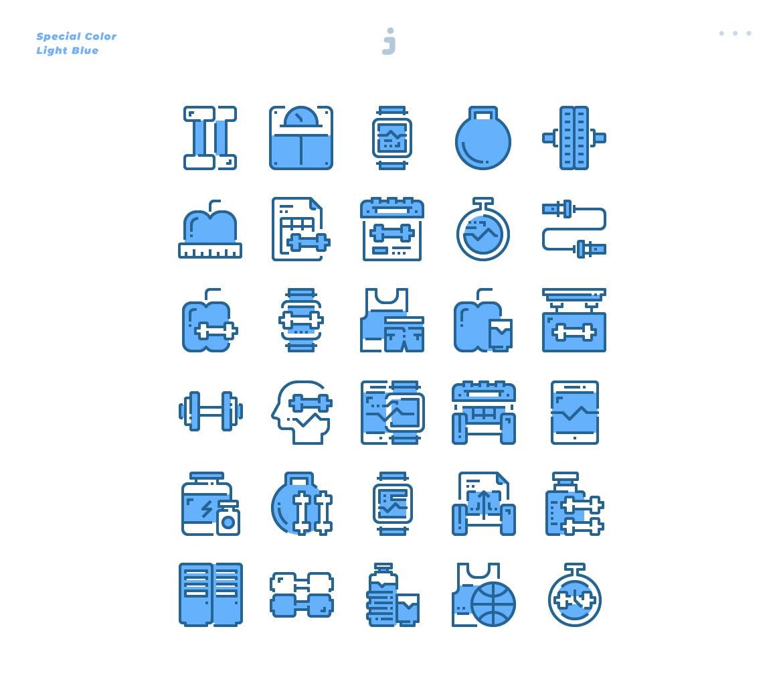 30个淡蓝色健身描边风图标源文件下载30 Fitness Icons Light Blue插图(2)