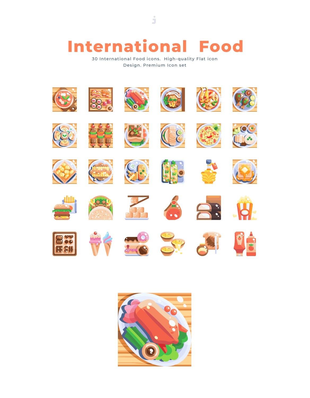 30个西餐食品餐饮元素扁平风图标源文件下载30 International Food Icon set Flat插图(2)